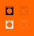 washing machine black and white set icon vector image vector image