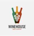 wine bottles logo wine grapes on white background vector image vector image