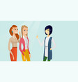 young multicultural women sharing gossips vector image vector image