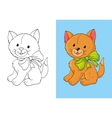 Coloring Book Of Cute Red Kitten With Bow vector image