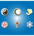 set of color icons with religious symbols vector image