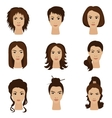 Young woman girls with various different hair vector image