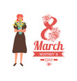 8 march women day greeting card with girl in dress vector image