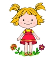 A little girl standing on the grass vector image