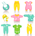 baby clothing icons vector image vector image