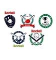 Baseball heraldic emblems set vector image vector image