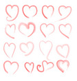 brush stroke sketch drawing hearts shape set vector image vector image