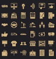 business data icons set simple style vector image vector image