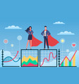 business superheroes man and woman in flowing vector image vector image
