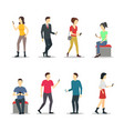 cartoon characters people watch cell phones set vector image