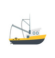 cartoon commercial fishing ship isolated on a vector image