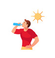 cartoon young man drinks water under sun vector image vector image