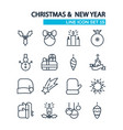 christmas lined icons set vector image vector image