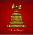 Christmas tree from red ribbon background vector image vector image