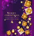 christmas xmas gold gifts boxes and vector image vector image