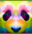 close up face colorful panda vector image vector image