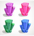 colorful set of cartoon crystals drawing vector image