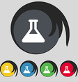 Conical Flask icon sign Symbol on five colored vector image