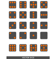 Dark dice with orange dots set vector image vector image