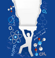 discovering chemistry ripped paper background vector image vector image