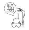 extinguisher mask and helmet with vest black and vector image vector image