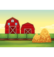 Farm scene with barns and haystacks vector image