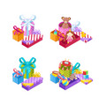 girls and boys gifts colorful gift boxes vector image vector image