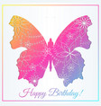 happy birthday card with butterfly gradient vector image
