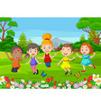happy children jumping on park vector image vector image