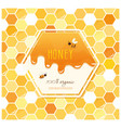 honey package design label on seamless honeycomb vector image vector image