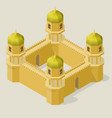 isometric fortress with towers and walls