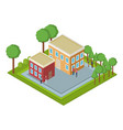 isometric group of houses vector image