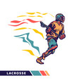 man running and holding lacrosse stick when vector image vector image