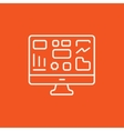 Monitor with business graphs line icon vector image vector image