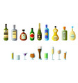 ollection of different alcoholic beverages in vector image vector image