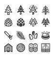 pine icon set vector image vector image