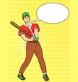 pop art background a man a professional baseball vector image vector image