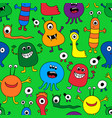 seamless pattern of colorful monsters vector image