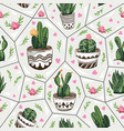 seamless pattern with succulents vector image