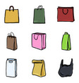 set color doodle icons - shopping bags vector image vector image