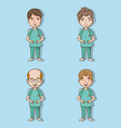 set professional men doctors with stethoscope vector image vector image