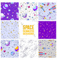 set seamless space backgrounds with rockets vector image vector image