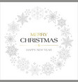 snowflakes with text merry christmas and happy new vector image
