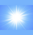 sun with rayson on blue background glow light vector image