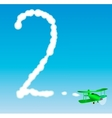 The plane draws a number in the sky Two vector image vector image