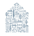 Town doodles in house shape vector image vector image
