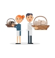 Truffles sellers with mushrooms in wicker baskets vector image vector image