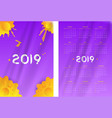 two-sided simple calendar 2019 year week starts vector image