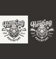 vintage monochrome boar hunting emblem vector image vector image