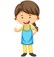 Woman wearing blue apron vector image vector image